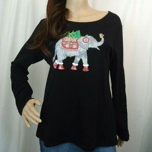 🐧KarenScott PL Christmas Elephant Tee Embroidered